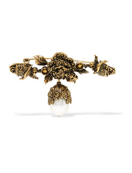 Gold Plated Faux Pearl Brooch by Alexander Mc Queen