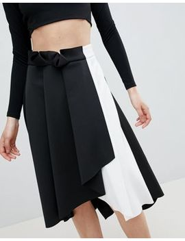 Asos Design Scuba Prom Skirt With Wrap In Mono Color Block by Asos Design