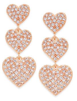 Rose Gold Tone Pavé Heart Triple Drop Earrings by Kate Spade New York
