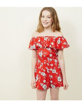 Teens Red Floral Frill Playsuit by New Look