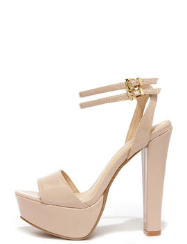 Miss World Natural Patent Platform Heels by Lulu's