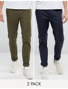 Asos 2 Pack Slim Chinos In Khaki & Navy Save by Asos
