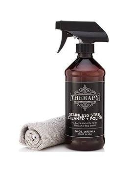 Therapy Premium Stainless Steel Cleaner & Polish   Includes Large Microfiber Cloth, 16 Fl Oz by Therapy