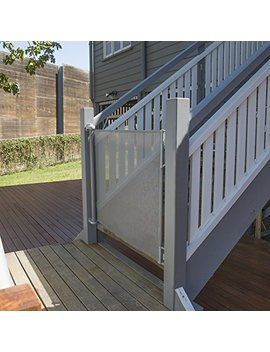 "Perma Outdoor Retractable Gate, Extra Wide 71"", Gray by Perma Child Safety"
