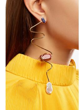 Gold Tone, Pearl And Jasper Earring by Roksanda