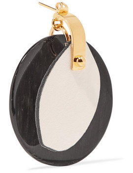 Gold Tone, Horn And Leather Earrings by Marni