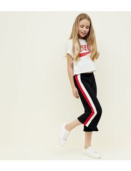 Teens Black Stripe Side Ribbed Culottes by New Look