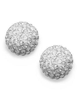 Earrings, 22k Gold Plated Crystal Stud Earrings by Swarovski