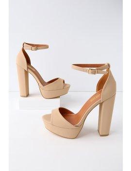 Sassie Nude Nubuck Platform Ankle Strap Heels by Lulu's
