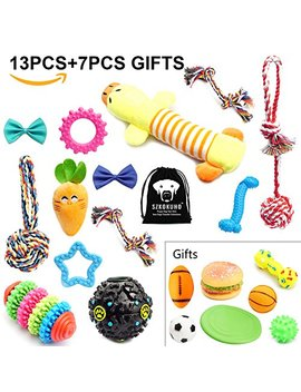 Szkokuho 10 20 Pack Puppy Dog Chew Toys Set Dog Accessories —Plush Toys,Dog Ropes,Squeaky Toys,Puppy Chew Toys,Dog Balls,Dog Bone Toy,Dog Flying Discs,Dog Bow Tie,For Small To Some Medium Dogs by Szkokuho