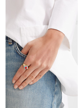 Gold Tone Resin Ring by Fendi