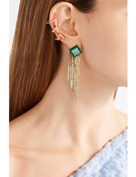 Gold Tone Stone Earrings by Fendi