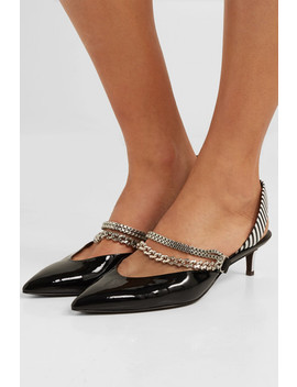 Kitty Chain Embellished Patent Leather Slingback Pumps by Self Portrait