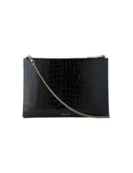 Whistles Rivington Shiny Croc Leather Chain Clutch Bag, Black by Whistles