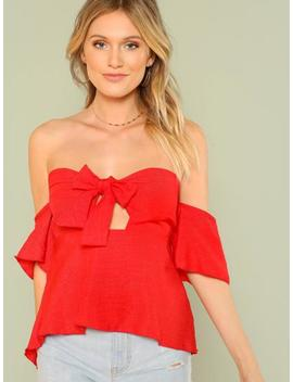 Off Shoulder Tie Front Blouse by Sheinside