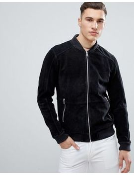 Esprit Suede Bomber Jacket In Black by Esprit