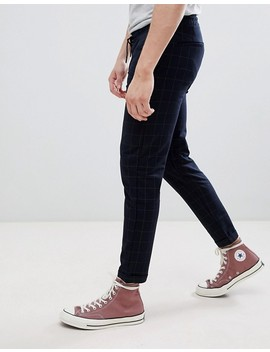 Pull&Bear Tailored Trouser In Navy Check by Pull&Bear