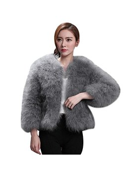 Kixing Tm Women Faux Fur Ostrich Feather Soft Fur Coat Jacket Fluffy Winter (Gray, 2 Xl) by Kixing