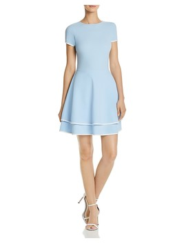 Tiered Piped Fit And Flare Dress   100 Percents Exclusive by Aqua