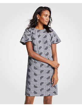 Eyelet Plaid Flare Sleeve Shift Dress by Ann Taylor