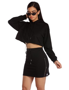 Draw Me Close Hooded Crop Top by Windsor
