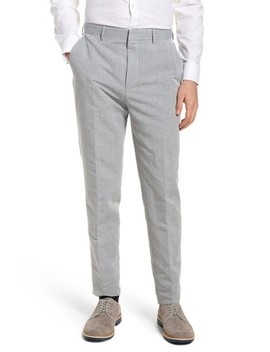 Pirko Flat Front Linen & Cotton Trousers by Boss
