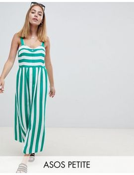 Asos Design Petite Linen Button Through Maxi Dress In Stripe by Asos Design