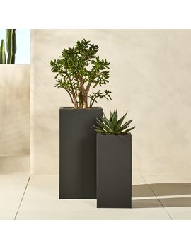 Blox Tall Galvanized Charcoal Planters by Crate&Barrel