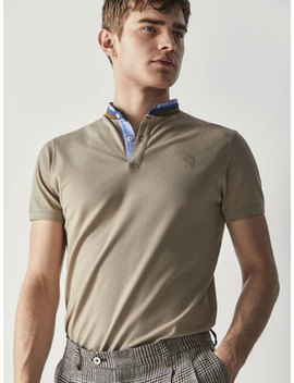 Cotton Polo Shirt With Dotted Detail by Massimo Dutti