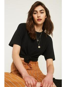Uo Knot Front Oversized Short Sleeve T Shirt by Urban Outfitters