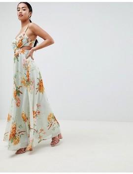 Asos Design – Petite – Maxikleid In Grün Mit Blumenmuster Und Seitlichen Zierausschnitten by Asos Design