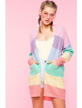 Pastel Rainbow Knit Cardigan by A'gaci