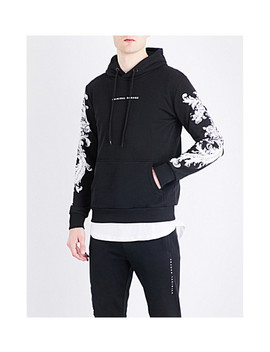 Paulo Floral Embroidered Cotton Jersey Hoody by Criminal Damage