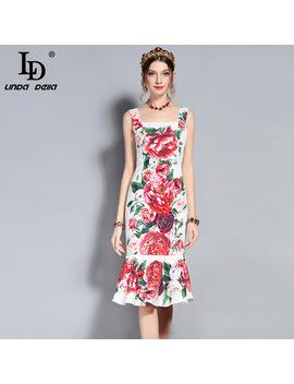 Ld Linda Della New 2018 Fashion Runway Designer Summer Dress Women's Spaghetti Strap Floral Print Mermaid Party Elegant Dress by Ld Linda Della