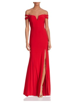 Double Strap Off The Shoulder Gown   100 Percents Exclusive by Aqua