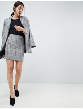 Asos Design Mini Skirt In Colored Check by Asos Design