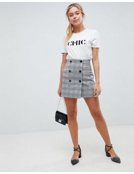 Asos Design Double Breasted Mini Skirt In Check by Asos Design