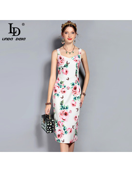 Ld Linda Della New 2018 Fashion Runway Summer Dress Women's Spaghetti Strap Elegant Rose Floral Printed Slim Mid Calf Dress by Ld Linda Della