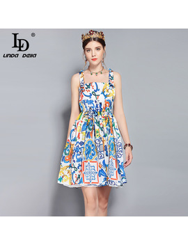 Ld Linda Della New 2018 Fashion Designer Runway Summer Dress Women's Spaghetti Strap Vintage Floral Print Mini Short Dress by Ld Linda Della