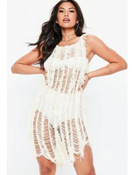 White Crochet Fringe Dress by Missguided