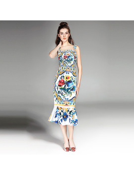 High Quality 2017 Designer Women's Summer Dress Sexy Spaghetti Strap Printing Trumpet/Mermaid Dress by Y&M