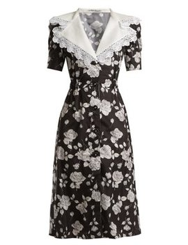 Rose Print Lace Trimmed Dress by Alessandra Rich