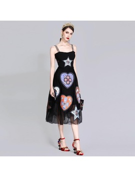 High Quality Designer Summer Dress Women Sexy Spaghetti Strap Retro Print Mesh Appliques Beaded Party Black Mid Calf Dress by Y&M