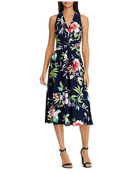 Floral Twist Front Jersey Dress by Chaps