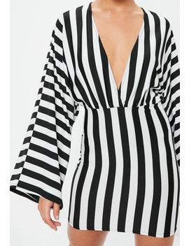 White Striped Plunge Kimono Sleeve Mini Dress by Missguided