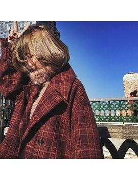 Double Breasted Plaid Loose Fit Coat by Pm2.5