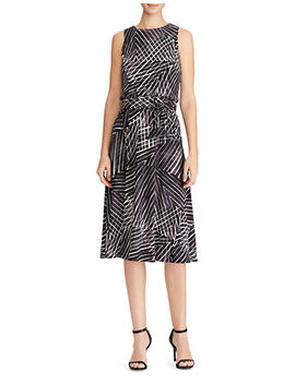 Printed Jersey Fit And Flare Dress by Lauren Ralph Lauren