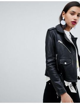 Whistles Belted Agnes Leather Biker Jacket by Whistles