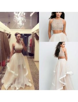 Sequins Top Two Pieces Prom Evening Party Dress Celebrity Pageant Long Maxi Gown by Unbranded