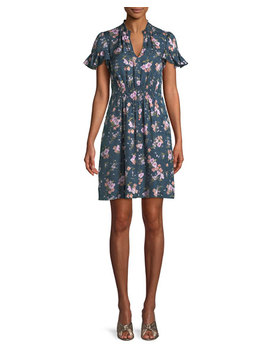 Emilia Floral Print Silk Mini Dress by Rebecca Taylor